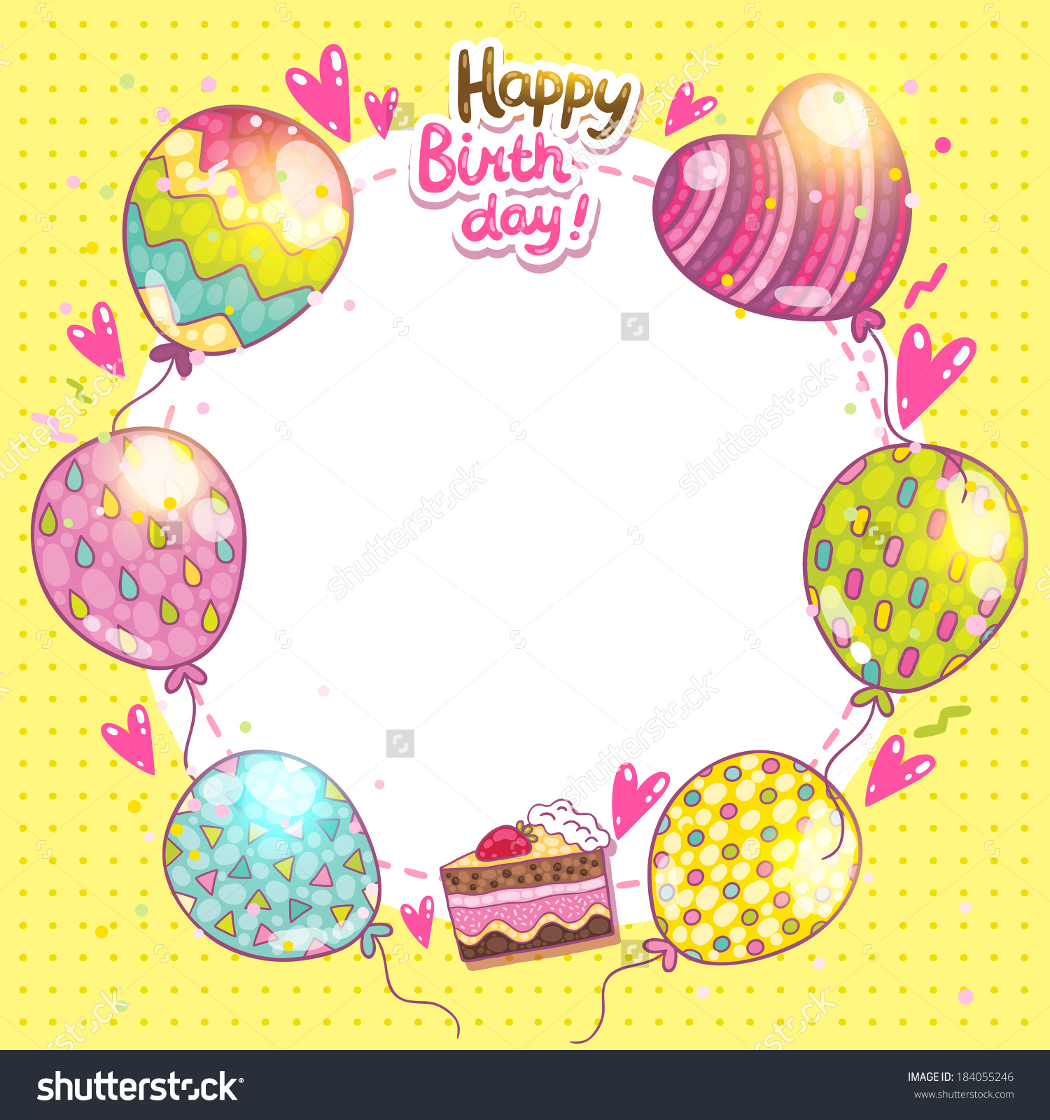 birthday card background with cake and ballloons