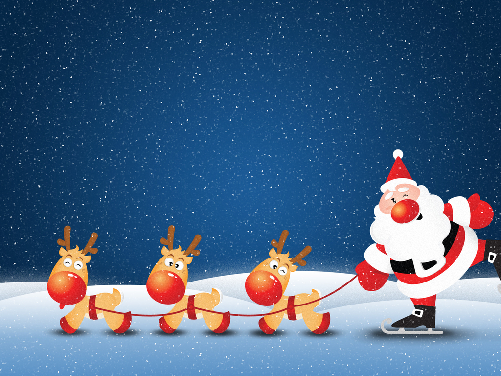 deer on snow for Santa Claus Backgrounds