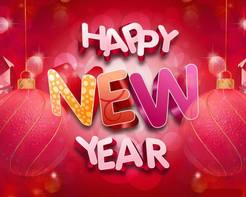 awesome 3d New Year Greetings Background